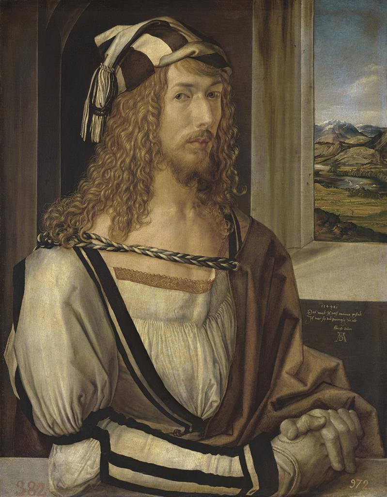 DÜRER, Self-portrait, 1498. Oil on panel, 52 x 41 cm. https://www.museodelprado.es/en/the-collection/art-work/selfportrait/8417d190-eb9d-4c52-9c89-dcdcd0109b5b Copyright ©Museo Nacional del Prado