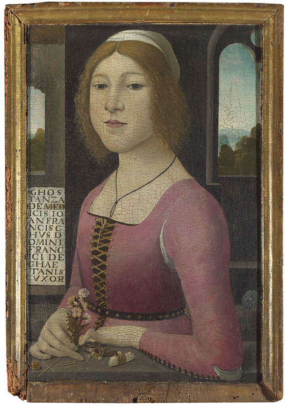 Style of Domenico Ghirlandaio, 1449 - 1494 Costanza Caetani probably about 1480-90 Tempera and oil on wood, 57.2 x 37.5 cm Salting Bequest, 1910 NG2490 http://www.nationalgallery.org.uk/paintings/NG2490