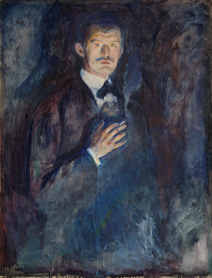 Edvard Munch, Self-Portrait with Cigarette 1885, Oil on canvas, 110.5 x 85.5 cm, National Museum of Art, Architecture and Design, Oslo, Photo © National Museum / Høstland, Børre http://samling.nasjonalmuseet.no/no/object/NG.M.00470