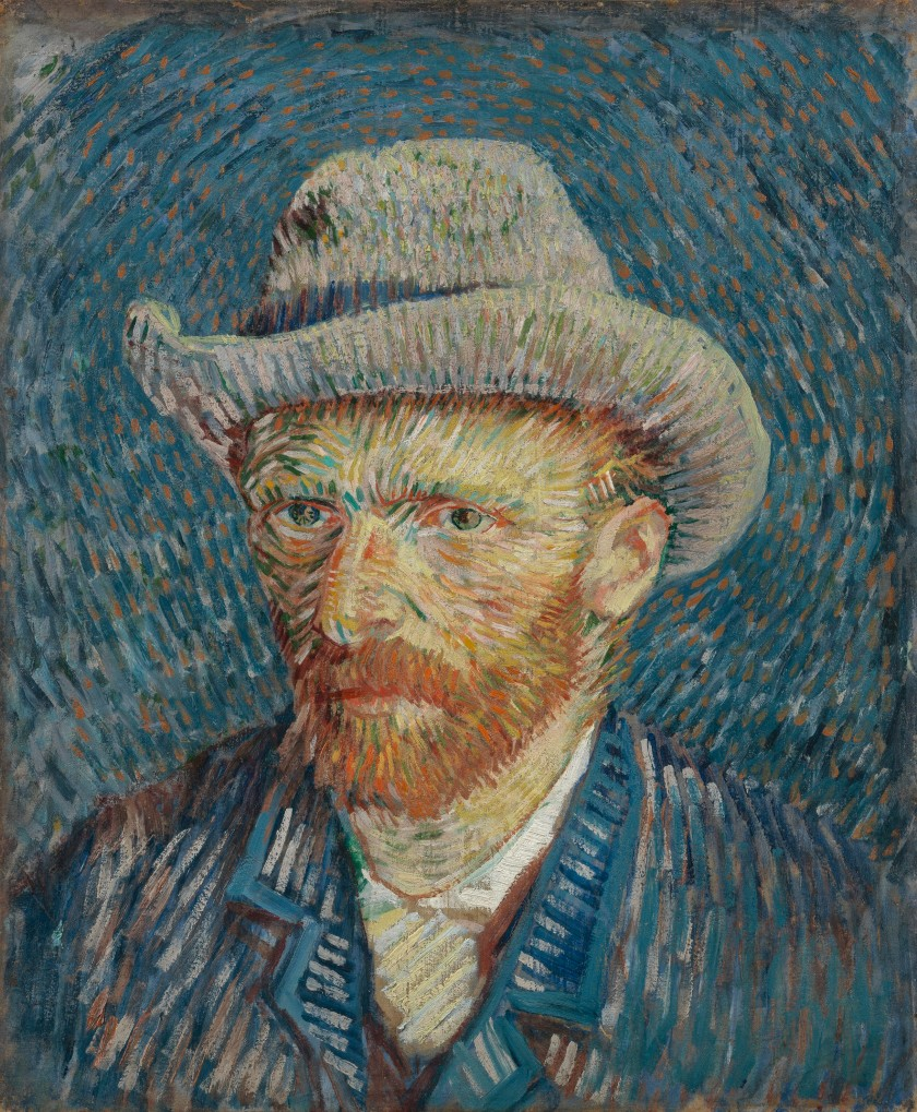 'Self-Portrait with Grey Felt Hat' by Vincent van Gogh, 1887 oil on canvas, 44.5 cm x 37.2 cm http://vangoghmuseum.nl/en/collection/s0016V1962 Photo © Van Gogh Museum, Amsterdam (Vincent van Gogh Foundation)