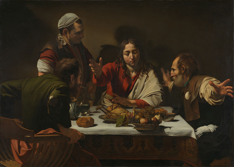 Michelangelo Merisi da Caravaggio, 1571 - 1610 The Supper at Emmaus 1601 Oil and tempera on canvas, 141 x 196.2 cm Presented by the Hon. George Vernon, 1839 NG172 http://www.nationalgallery.org.uk/paintings/NG172
