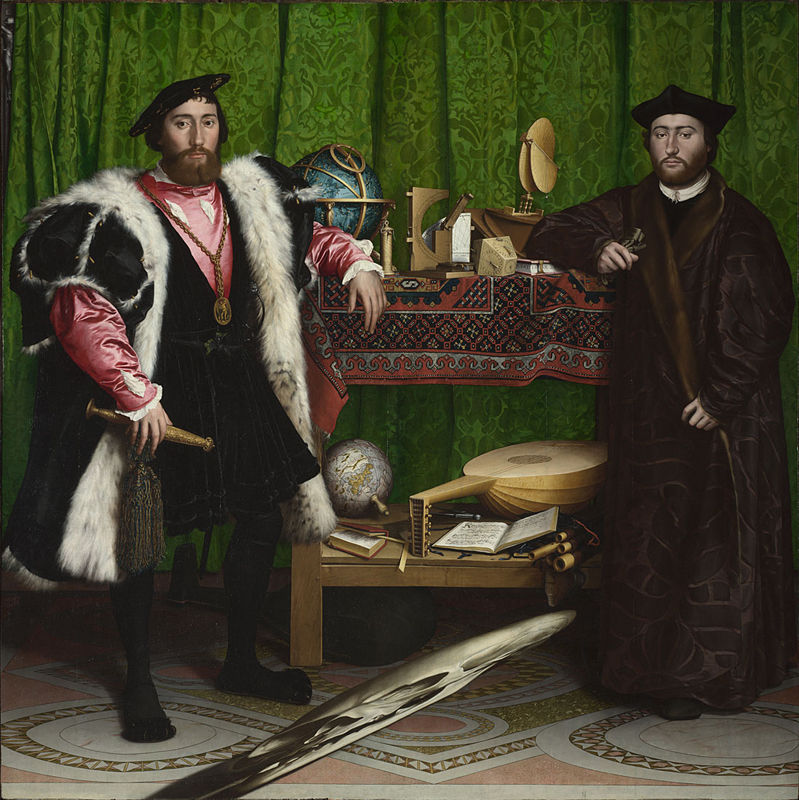 Hans Holbein the Younger, 1497/8 - 1543 Jean de Dinteville and Georges de Selve ('The Ambassadors') 1533 Oil on oak, 207 x 209.5 cm Bought, 1890 NG1314 http://www.nationalgallery.org.uk/paintings/NG1314