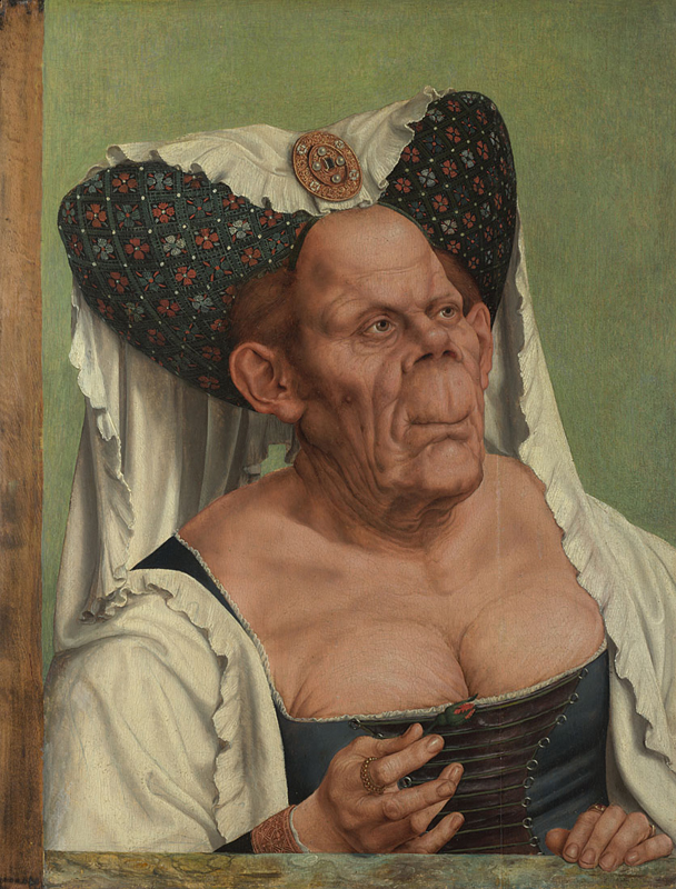 Quinten Massys, 1465/6 - 1530 An Old Woman ('The Ugly Duchess') about 1513 Oil on oak, 62.4 x 45.5 cm Bequeathed by Miss Jenny Louisa Roberta Blaker, 1947 NG5769 http://www.nationalgallery.org.uk/paintings/NG5769