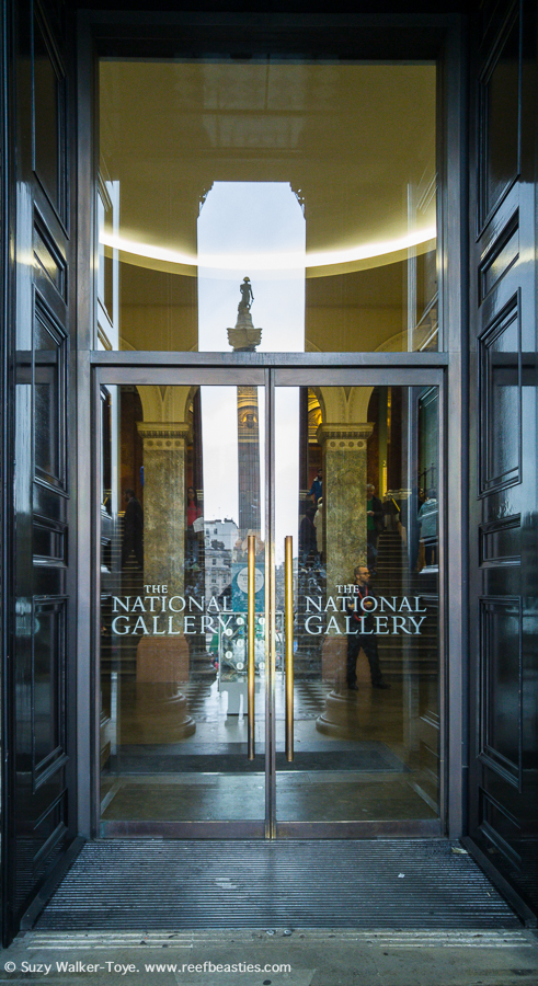 National Gallery Main entrance with reflection of Nelsons Column in the Glass