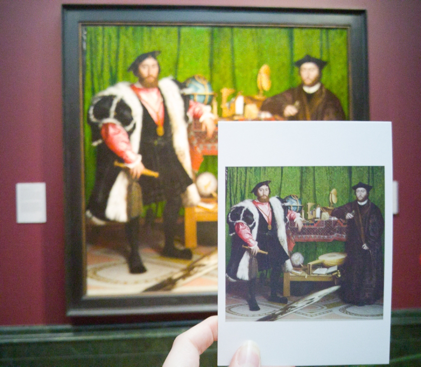 Postcard comparison of Hans Holbein the Younger, Jean de Dinteville and Georges de Selve ('The Ambassadors') 1533, National Gallery