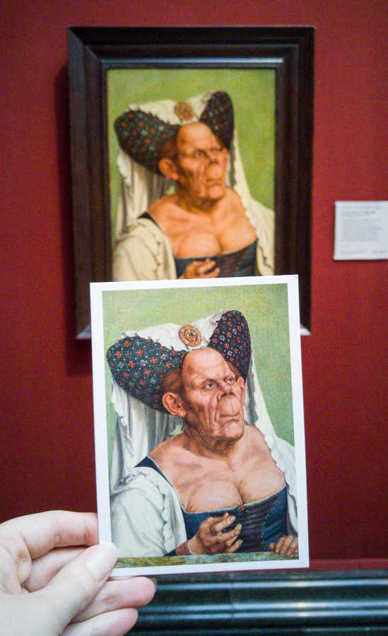 Postcard comparison of 'An Old Woman ('The Ugly Duchess')' - Quinten Massys, about 1513, National Gallery, London.
