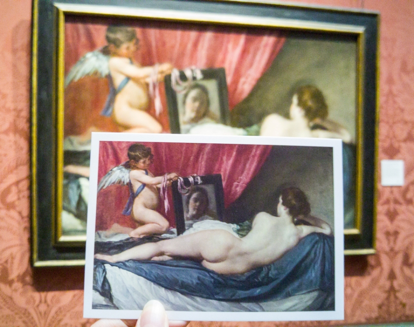 Postcard comparison of The Toilet of Venus ('The Rokeby Venus') 1647-51, Diego Velázquez. National Gallery, London.