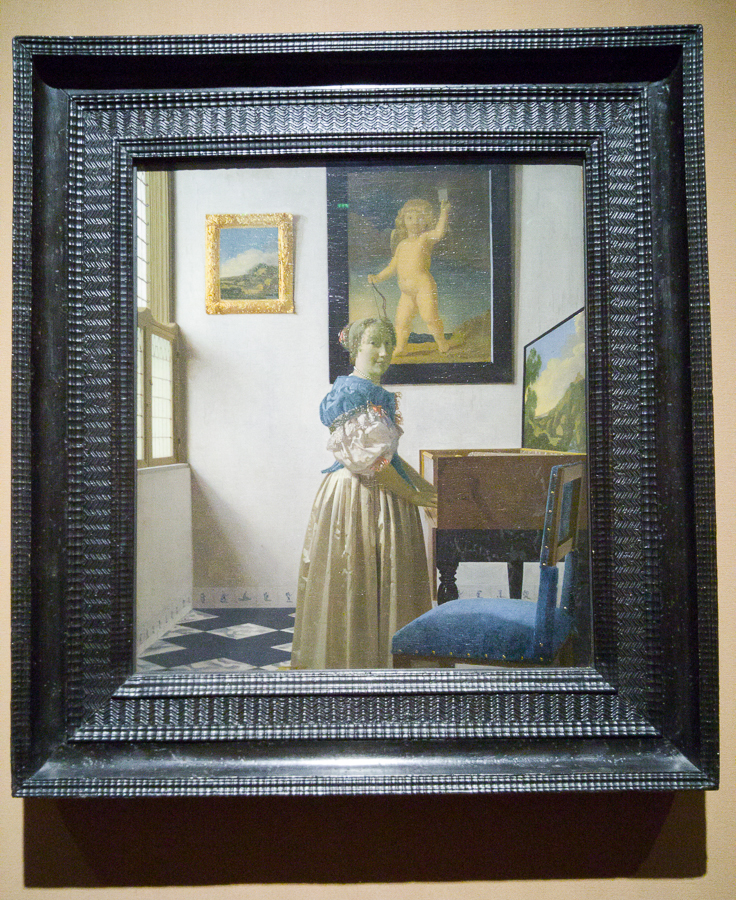'A Young Woman standing at a Virginal' about 1670-2, Johannes Vermeer, National Gallery London http://www.nationalgallery.org.uk/paintings/johannes-vermeer-a-young-woman-standing-at-a-virginal