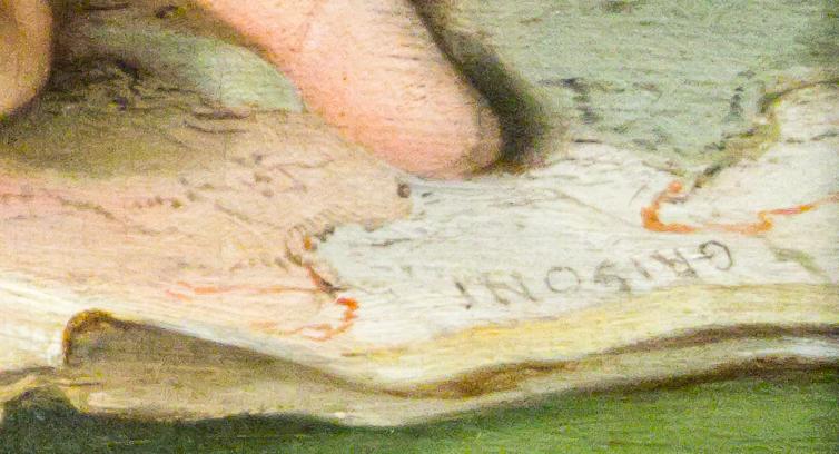 detail of 'Portrait of Richard Milles' probably 1760s, Pompeo Girolamo Batoni, National Gallery, London.