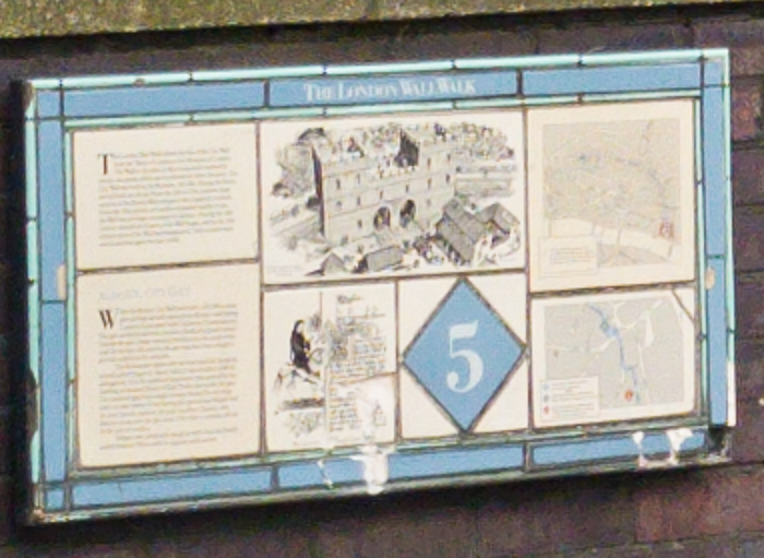 London Wall Walk panel 5 (inaccessible) - zoomed in