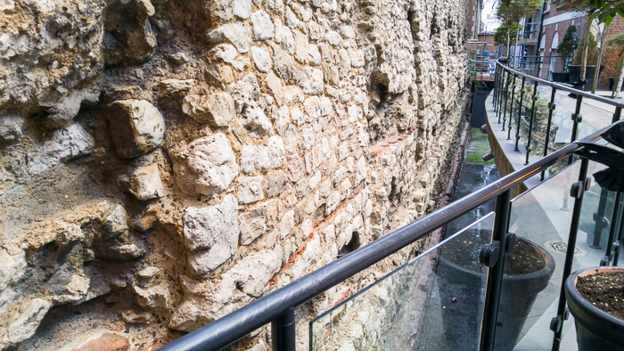 London Wall Walk - panel 3 (inner wall) looking down to see the Roman part