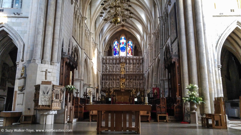 In this view of the crossing and into the choir leading to the high altar, you can clearly see the stilted arch on the left hand side is not symmetrical. this is to allow for a staircase to the tower.