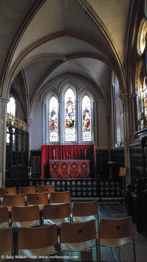 One of the chapels in the retrochoir, all four had stained glass pointed arches windows