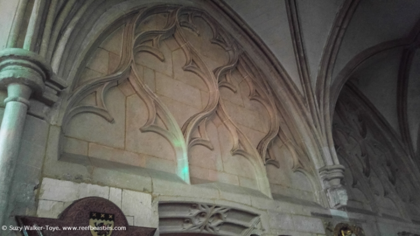 This is medieval blind tracery in the retrochoir. You can see there is much less light in here but I expect if I visited first thing in the morning the light would be streaming in through the eastern chapel stained glass windows behind me