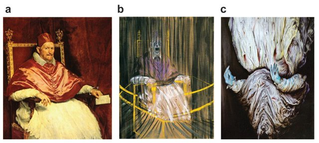 Figure 2. Three portrait versions of Pope Innocent X. (a) Velázquez. Pope Innocent X. 1650. Oil on canvas. 114 x 119 cm. Palazzo Doria Pamphili, Rome. (b) Francis Bacon. Study after Velázquez's Portrait of Pope Innocent X. 1953. Oil on canvas. 153 x 118.1 cm. Nathan Emory Coffin Collaboration, Des Moines Art Centre. (c) Glenn Brown, Nausea. 2008. Oil on panel. 155 x 120 cm. Tate Liverpool.