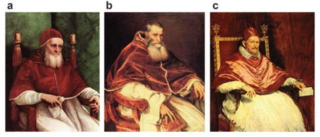Figure 1. Papal portraiture from Raphael to Titian to Velázquez. (a) Raphael. Pope Julius II. 1511. Oil on wood. 108 x 80.7 cm. National Gallery, London. (b) Titian, Pope Paul III. 1543. Oil on canvas. 106 x 85 cm. Museo Nazionale di Capondimonte, Naples. (c) Velázquez. Pope Innocent X. 1650. Oil on canvas. 114 x 119 cm. Palazzo Doria Pamphili, Rome.