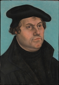 Martin Luther (1483–1546), probably 1532 Workshop of Lucas Cranach the Elder (German, Kronach 1472–1553 Weimar) Oil on wood, 13 1/8 x 9 1/8 in. (33.3 x 23.2 cm) Gift of Robert Lehman, 1955 http://www.metmuseum.org/art/collection/search/436047
