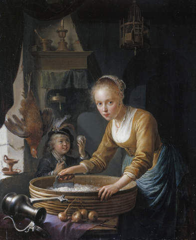 Gerrit Dou (Leiden 1613-Leiden 1675) A Girl chopping Onions, Signed and dated 1646 Oil on panel, 20.8 x 16.9 cm | RCIN 406358 Royal Collection Trust/© Her Majesty Queen Elizabeth II 2016