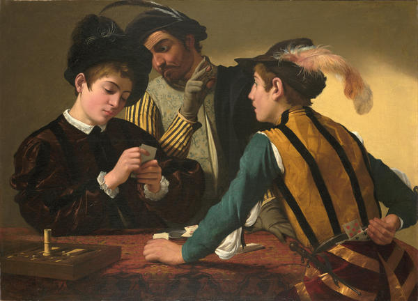 The Cardsharps - Caravaggio (Michelangelo Merisi) Italian (1571–1610) 16th century c. 1595 Oil on canvas 37 1/16 x 51 9/16 in. (94.2 x 130.9 cm) AP 1987.06