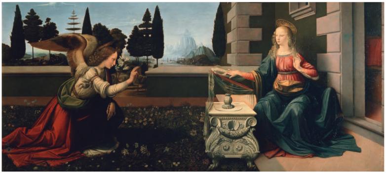 Leonardo da Vinci, The Annunciation , a bout 1472–6. Oil and temper a on poplar , 100 x 221.5 cm. Florence , Galleria degli Uffizi, 1618