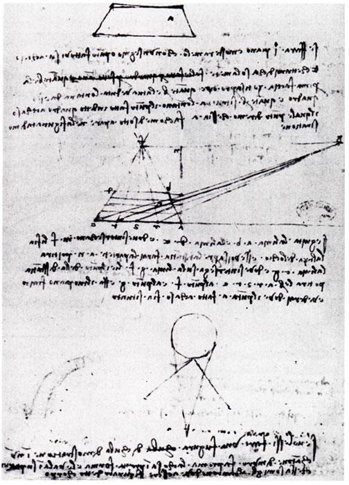 Leonardo da Vinci, Alberti's construzione legittima (ca. 1492). Manuscript A, Fol. 42r. Bibliothèque de l'Institut, Paris.