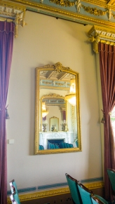 Drawing Room, mirror opposite the fireplace reflecting the other mirror