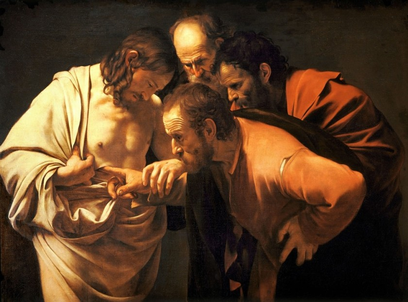 Incredulity of saint thomas,1603. Canvas 107x146 cm, Neues Palais, Potsdam.