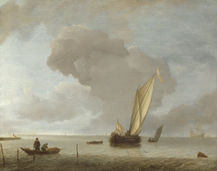 Jan van de Cappelle A Small Dutch Vessel before a Light Breeze, probably about 1645-55 Oil on canvas, 44.3 x 55.6 cm | NG2588 © National Gallery, London
