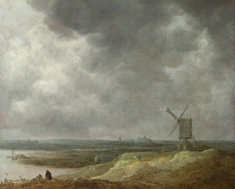 Jan van Goyen (1596 – 1656) A Windmill by a River, 1642 Oil on oak, 29.4 x 36.3 cm | NG2578 © National Gallery, London