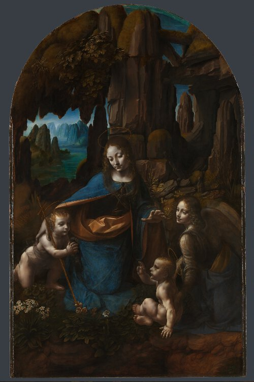 Leonardo da Vinci (1452 – 1519) The Virgin with the Infant Saint John the Baptist adoring the Christ Child accompanied by an Angel ('The Virgin of the Rocks'), about 1491/2-9 and 1506-8 Panels from the S. Francesco Altarpiece, Milan Oil on poplar, thinned and cradled, 189.5 x 120 cm | NG1093 © National Gallery, London