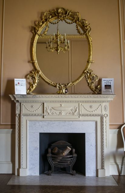 Hylands House - small dining room, fireplace