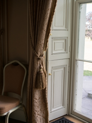 Hylands House - small dining room, window blinds