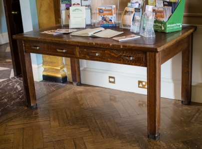 Hylands House - small dining room, information table