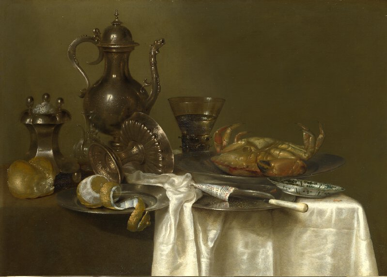 Willem Claesz. Heda (1593/4 - 1680/2) Still Life: Pewter and Silver Vessels and a Crab, probably about 1633-7 Oil on oak, 54.2 x 73.8 cm | NG1469 © National Gallery, London