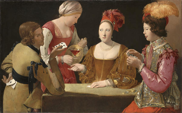 Georges de La Tour The Cheat with the Ace of Clubs, 1630-1634 Oil on canvas 38 1/2 × 61 1/2 in 97.8 × 156.2 cm © Kimbell Art Museum, Fort Worth, Texas