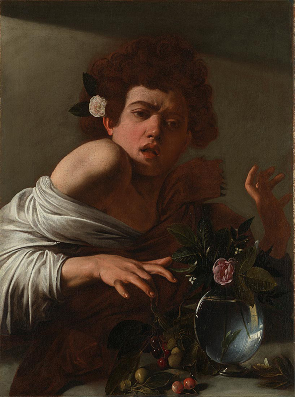 Michelangelo Merisi da Caravaggio, 1571 - 1610 Boy bitten by a Lizard 1595-1600 Oil on canvas, 66 x 49.5 cm Bought with the aid of a contribution from the J. Paul Getty Jr Endowment Fund, 1986 NG6504 http://www.nationalgallery.org.uk/paintings/NG6504